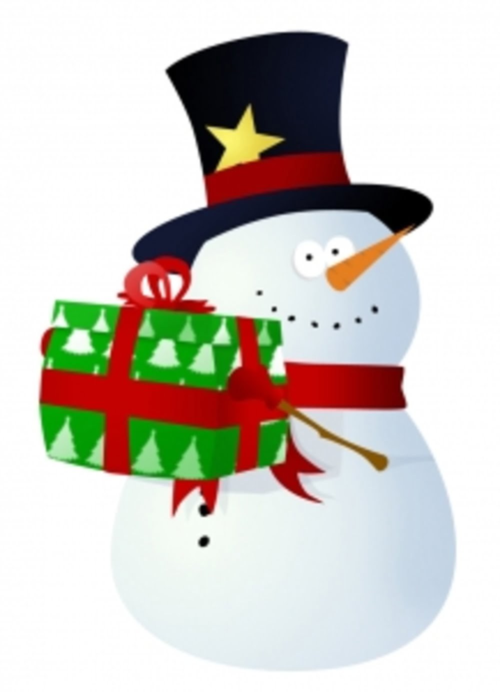 snowman holding a gift